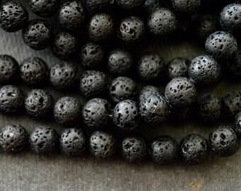 8mm Black Lava Stone Beads Mala Beads, Diffuser Beads, (12 beads) Essential Oils, 8mm Stone Beads, Black Stone  Round Lava Beads