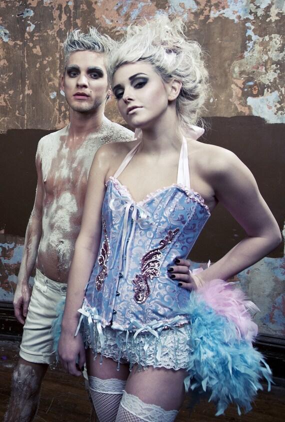 ALICE IN WONDERLAND Burlesque Costume Saloon Girl dress Corset feather bustle