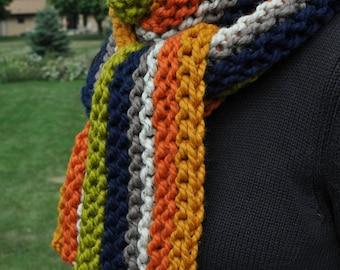 Chunky Striped Super Scarf - Long Knit Retro Boho Scarf - Pear Green - Butterscotch Gold - Pumpkin Orange - Navy Blue - Brown - Oatmeal