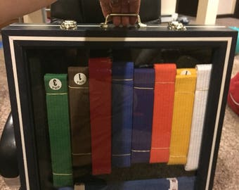 Martial art belt display case ( Midnight blue with white pinstripes)