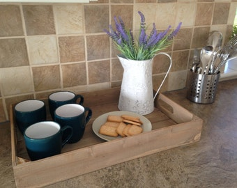 Wooden Tray, rustic, handmade wooden apple crate tea tray, serving tray, breakfast tray or garden seedling tray