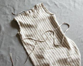Linen dress white striped linen dress grey embroidered loose dress hand embroidery belt beige midi linen women's clothing linen tunic