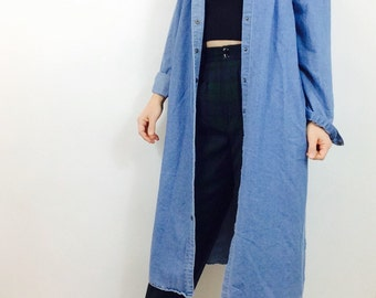 Denim duster vintage denim dress Long denim dress long sleeved dress vintage denim coat vintage jean dress jean maxi dress denim maxi dress