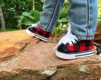 "Red and Black Plaid Sneakers  18"" boy Doll shoes, Fits American girl dolls"