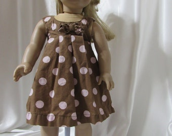 """A cotton pleated A-line jumper or dress for 18"""" dolls."""