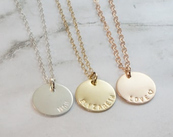 Name Necklace Disc Necklace Gift for Mom Personalized Best Friend Gift Custom Gold Necklace Bridesmaids Gift Rose Gold Jewelry