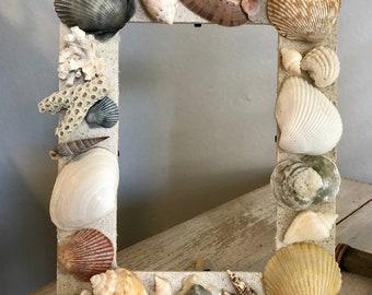 4x6 Wooden Seashell Picture Frame Handmade