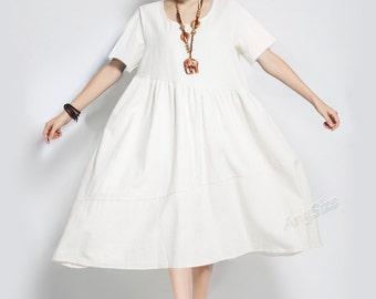 Anysize soft A-line linen & cotton dress plus size dress plus size tops plus size clothing Spring Summer dress Y8