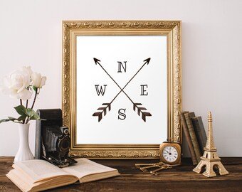 Compass print, Printable Arrows Print, Gallery Wall Prints, Tribal Wall Art, Watercolor Dorm Decor, Nursery Decor Boho, Affiche Scandinave