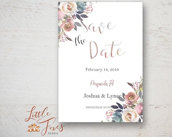 Watercolor Save the Date Card, Floral Card, Printable, Photoshop Template
