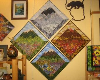"Four Seasons Art Quilts, Fabric Wall Hanging, Landscape Textile Art 57 x 57"", Spring Summer Fall Winter Diagonal Lake Tahoe Wall Decor"