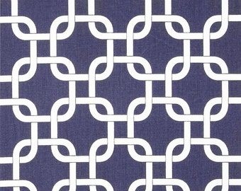 Navy Geometric Fabric by the Yard Upholstery Home Decor pillow curtain drape runner Gotcha cotton Twill Premier Prints chain link SHIPsFAST
