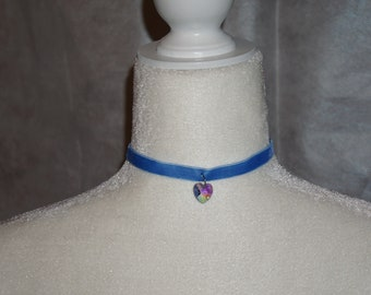 Blue Velvet Ribbon Choker With Swarofski Crystal Heart Pendant