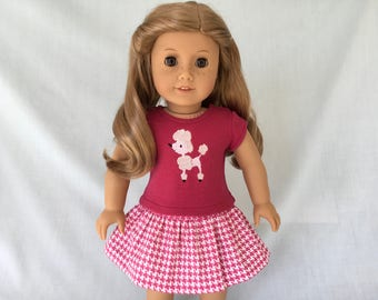 Poodle T-Shirt and Houndstooth Check Skirt for American Girl/18 Inch Doll