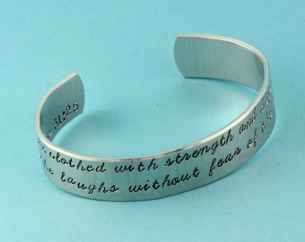 Proverbs 31:25 Bracelet - She Is Clothed With Strength and Dignity Bracelet - Silver Cuff Bracelet - Gift for Her - Christian Bracelet