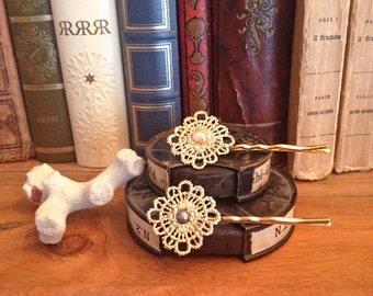 Rosaline bridal hair pieces (PAIR)  - hair pins 18k vermeil gold filigree barrettes - 20s era headpiece - bridal victorian tudor reign tiara