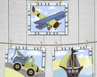 Set of 3 Mosaic Transport Boys Transportation Bedroom Baby Nursery 8 x 10 Wall ART PRINTS