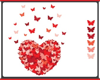 Butterfly Heart - Digital Clip Art - Passionate Red - Instant Download