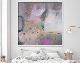 Pink grey wall art print from Large painting on canvas. Giclee print colorful modern large artwork by Duealberi