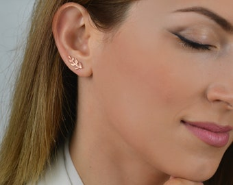 rose gold climbers, rose gold ear climber, ear climber earrings, leaf ear climber earring, ear crawler, gold leaf earrings, leaf earrings