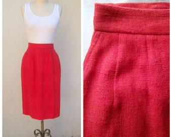 90s pencil skirt / Anne Klein II / persimmon burnt orange / high waisted skirt / silk pencil skirt / 27 inch waist, xs small