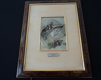 REDUCED - French Vintage signed Etain Du Prince Ete (summer) pewter picture (P00027)