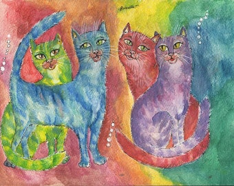 Rainbow cats, kitty, feline art, colorful original  pen and watercolors painting