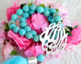 Blue Maashallah Misbaha, Turquoise Gemstone Tasbeeh Muslim Sacred Worry Beads 33 Bead Subha Misbah Sibha Masbaha Prayer Beads Masjid Mosque