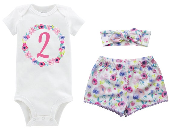 Second Birthday Pink Watercolor Pastel Outfit Shorts Headband Watercolor Floral Birthday Onesie Monogram Summer Shorts Pom Pom Shorts Outfit
