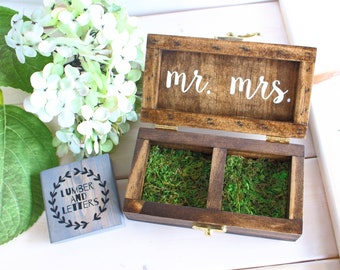 Rustic Ring Box - Ring Bearer Box - Handmade Ring Box - Double Ring Box - Handmade Ring Box - Wedding Ring Box