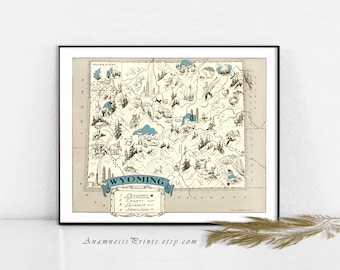 WYOMING MAP PRINT - vintage picture map to frame - perfect housewarming or wedding gift - size & color choices - personalized gift idea