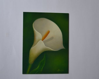 Acrylic 6x8' calla lily painting, small still life painting, white flower painting, tiny floral painting, floral miniature, artwork, art