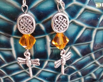 OUTLANDER EARRINGS, Dragonfly in Amber, Outlander Jewelry, Outlander Gifts,  Gifts for Women, Gifts Under 20, Celtic Jewelry, Celtic Knot
