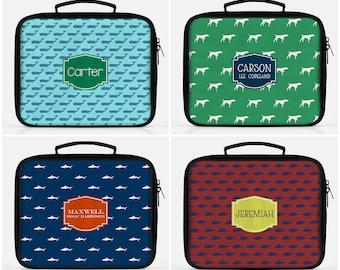 Boys Lunch Box Personalized - Boys Lunch Bag - Preppy Boy Lunch Bag - Nautical Lunch Box - Shark Lunch Box - Dog Lunch Box - Whale Lunch Box