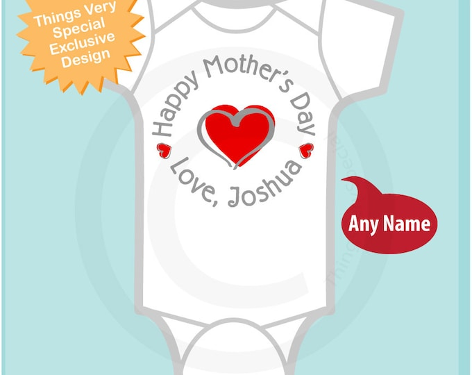Personalized Mother's Day Onesie, New Mom  Happy Mothers Day Onesie or Tee shirt with Red Heart, New Mom Gift (04182014a)