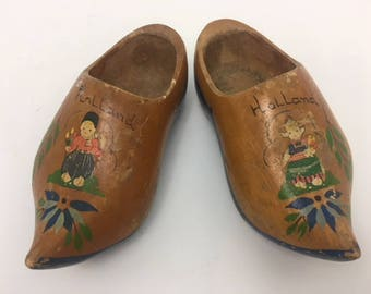 Vintage Clogs, Miniature Clogs, Children's Clogs, Wooden Clogs, Dutch Clogs, Vintage Hand Painted Wooden Shoes, Rustic Decor