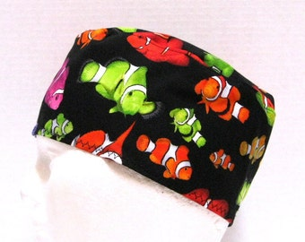 Mens Surgical Cap or Scrub Hat Colorful Clown Fish on Black