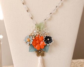OOAK vintage assemblage flower statement necklace, tassel necklace