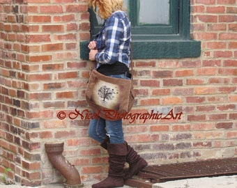 Brown Canvas Messenger Bag Rustic Country Tree of Life Birds Crow Cream Tan A823