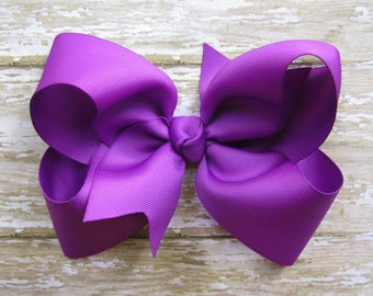 Large 6 inch Grosgrain Hair Bow in Purple Passion Big Girls Boutique Style Hairbow