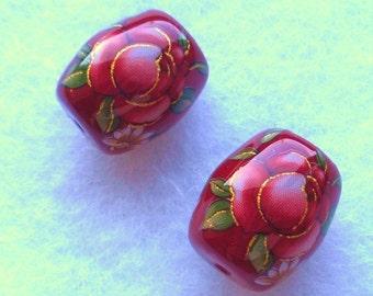 NEW Gorgeous Pair Japanese Tensha Beads Pink Rose on Wine 13 x 15 MM - TPRW1