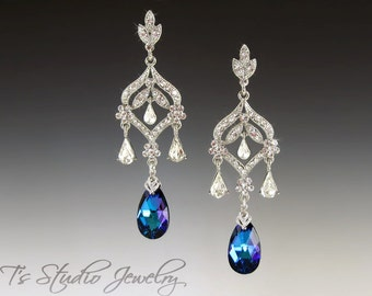Blue Crystal CZ Chandelier Bridal Earrings - Stones available in several colors - DAPHNE