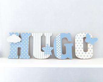 Lettres à poser, lettres prénom en Bois et tissu imprimé, prénom pour chambre enfant modèle bleu et blanc
