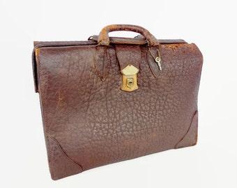 Vintage Leather Briefcase, Stebco Pigskin Luggage, Suitcase Storage Display, Movie Stage Prop