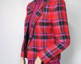 Jacket Blazer Vintage 1980's Jacket Crop BlazerVintage Lord & Taylor Bright Plaid Blazer Pink Fuschia Women's Size 6 Petite