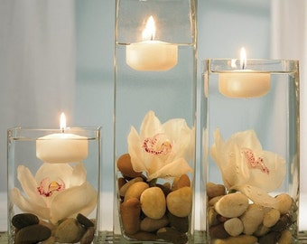 """3"""" Set of 12 White OR Ivory Floating Candle - unscented - 3"""" in Diameter for Centerpieces/ Vases/ Table Decorations"""