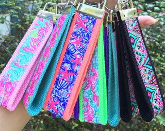 Floral Neon Patterned Print Key Fob Key Chain Lilly Pulitzer Inspired Preppy Prep Southern Beach Summer Sorority Gift Car Keys Accessory