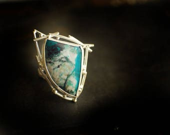 Silver Face Ring, Gem Silica Chrysocolla, Blue Gemstone Ring, Snow Jewelry, Statement Ring, Picture Stone, Scenic Natural Stone, Unique