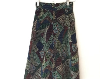 Vintage A line Velvet Far East Patterned 70s Midi Skirt