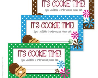 Girl scout cookie inspired hat earflaps girl scouts cookies cookie sales business cards polka dot printable download perfect for your school or scout cookie fundraiser colourmoves